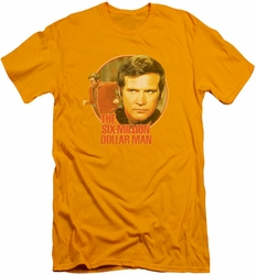 Six Million Dollar Man slim-fit t-shirt Run Faster mens gold