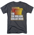 Six Million Dollar Man t-shirt Run Fast mens charcoal