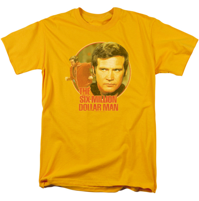 six million dollar man t shirt run faster mens gold