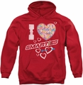 Smarties pull-over hoodie I Heart Smarties adult red