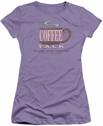 SNL Saturday Night Live juniors sheer t-shirt Coffee Talk  lavendar