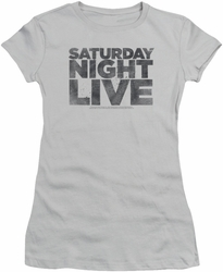 SNL Saturday Night Live juniors sheer t-shirt Distressed Logo silver