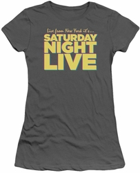 SNL Saturday Night Live juniors sheer t-shirt Live From New York  charcoal