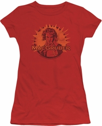 SNL Saturday Night Live juniors sheer t-shirt Macgruber red