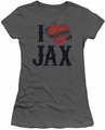 Sons of Anarchy juniors sheer t-shirt I Heart Jax charcoal