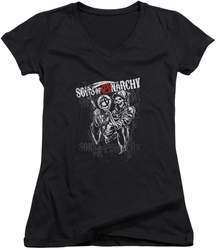 Sons of Anarchy juniors v-neck t-shirt Reaper Logo black