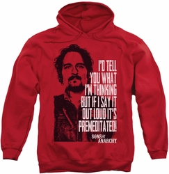 Sons Of Anarchy pull-over hoodie With Tig adult red