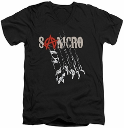Sons of Anarchy Rip Through mens black v-neck t-shirt