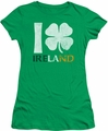 Ireland juniors sheer t-shirt I Love Ireland kelly green