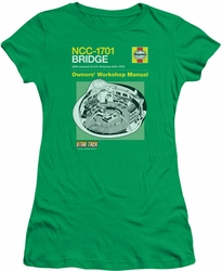 Star Trek juniors t-shirt Bridge Manual kelly green