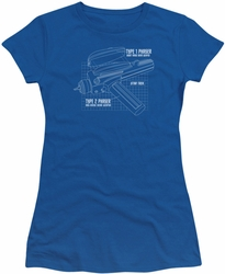 Star Trek juniors t-shirt Phaser Plans royal blue