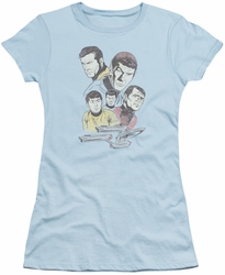 Star Trek juniors t-shirt Retro Crew light blue