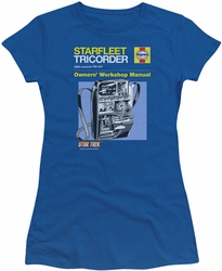 Star Trek juniors t-shirt Tricorder Manual royal blue