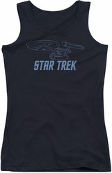 Star Trek juniors tank top Enterprise Outline black