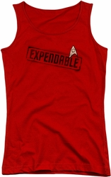 Star Trek juniors tank top Expendable red