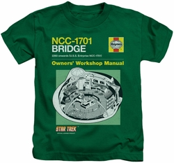 Star Trek kids t-shirt Bridge Manual kelly green