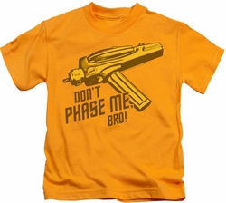 Star Trek kids t-shirt Don't Phase Me Bro gold