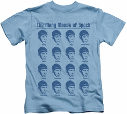 Star Trek kids t-shirt Many Moods Of Spock carolina blue