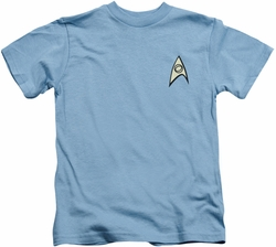 Star Trek kids t-shirt Science Uniform carolina blue