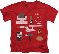 Star Trek kids t-shirt TOS Gift Set red