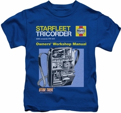 Star Trek kids t-shirt Tricorder Manual royal blue