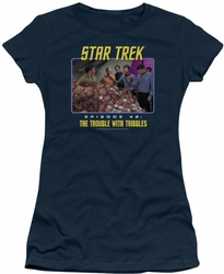 Star Trek Original Series juniors t-shirt The Trouble With Tribbles navy