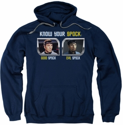 Star Trek Original Series pull-over hoodie Know Your Spock adult navy