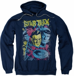 Star Trek pull-over hoodie Classic Crew Illustrated adult navy