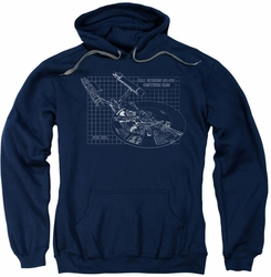 Star Trek pull-over hoodie Enterprise Prints adult navy