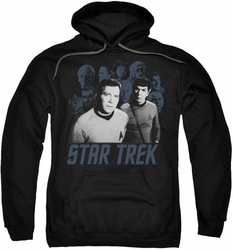 Star Trek pull-over hoodie Kirk Spock And Company adult black