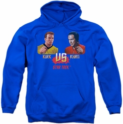 Star Trek pull-over hoodie Kirk Vs Khan adult royal blue
