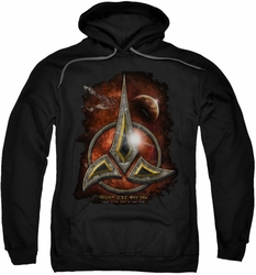Star Trek pull-over hoodie Klingon Crest adult black