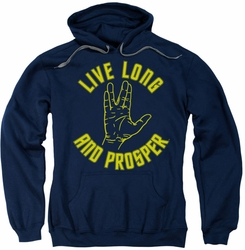 Star Trek pull-over hoodie Live Long Hand adult navy