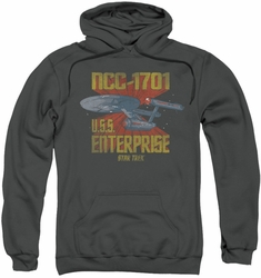 Star Trek pull-over hoodie NCC1701 adult charcoal