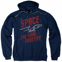 Star Trek pull-over hoodie Space Travel adult navy