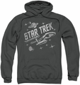 Star Trek pull-over hoodie Through Space adult charcoal
