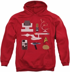 Star Trek pull-over hoodie TOS Gift Set adult red
