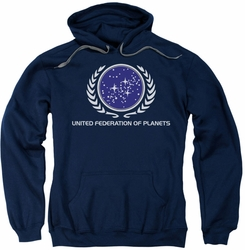Star Trek pull-over hoodie United Federation Logo adult navy