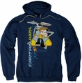 Star Trek Quogs pull-over hoodie Captain's Chair adult navy