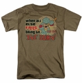 Star Trek Quogs t-shirt Bring On The Gorn mens safari green