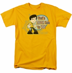 Star Trek Quogs t-shirt Mr Sulu To You mens gold