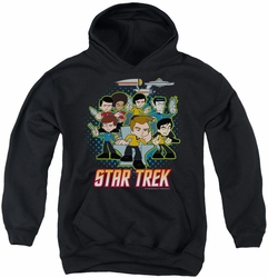 Star Trek Quogs youth teen hoodie Quogs Collage black