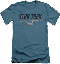Star Trek slim-fit t-shirt Entreprise Logo mens slate