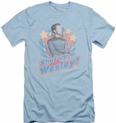 Star Trek slim-fit t-shirt Shut Up Wesley mens light blue