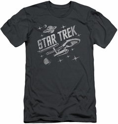 Star Trek slim-fit t-shirt Through Space mens charcoal