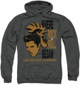 Sun Records pull-over hoodie Elvis And Rooster adult charcoal