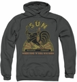 Sun Records pull-over hoodie Rooster adult charcoal