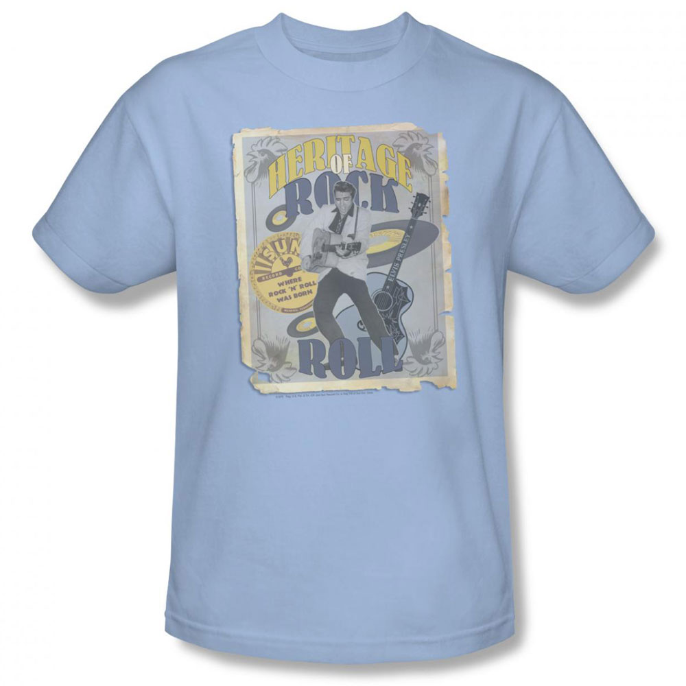 Sun records t shirt heritage of rock poster mens light blue Light blue t shirt mens