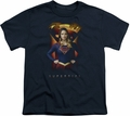 Supergirl youth teen t-shirt Standing Symbol navy