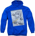 DC Comics pull-over hoodie Logo Note Paper adult royal blue